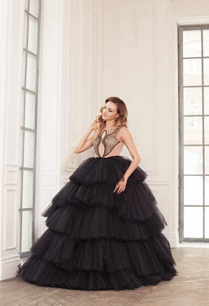 Regina gown, 2018, couture, dress, evening, black, tulle, embroidery, full silhouette, discount, sale
