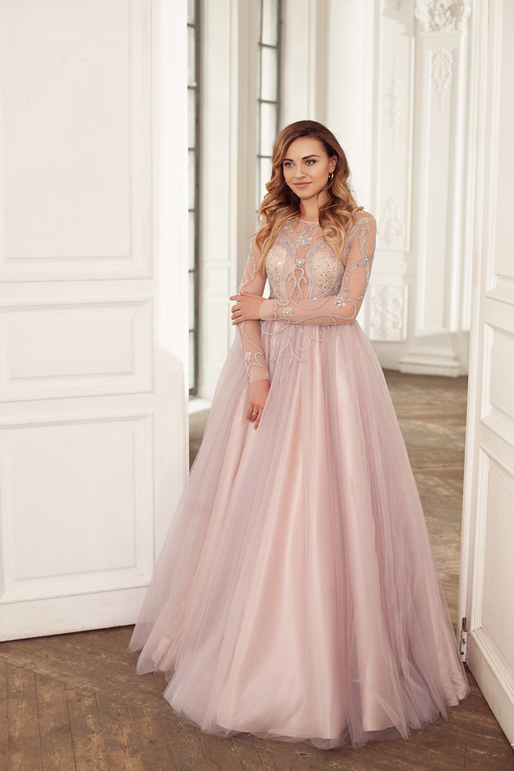 Melanie gown, 2018, couture, dress, evening, pink, tulle, embroidery, A-line, bridal, sleeves, discount, sale