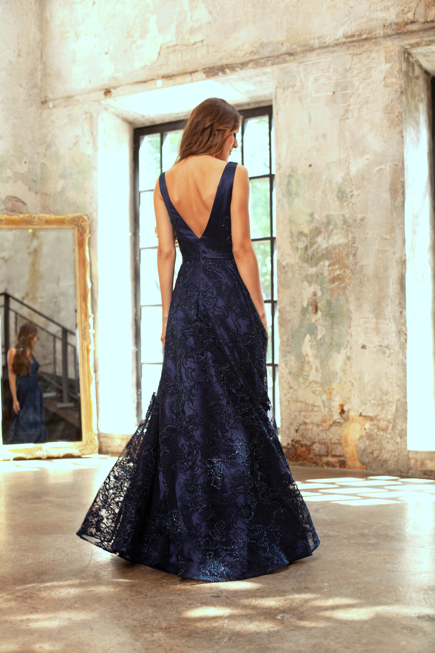 Sapphire dress, 2018, couture, gown, dress, evening, blue, lace, A-line