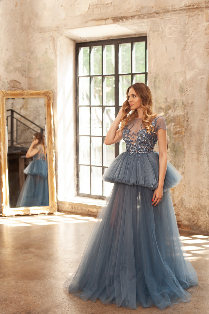 Nadyn gown, 2018, couture, gown, dress, evening, light blue, lace, A-line, tulle, discount, sale