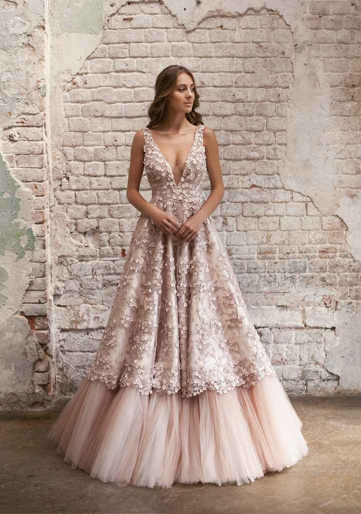 Flavia gown, 2018, couture, gown, dress, bridal, powder color, lace, A-line, tulle, discount, sale