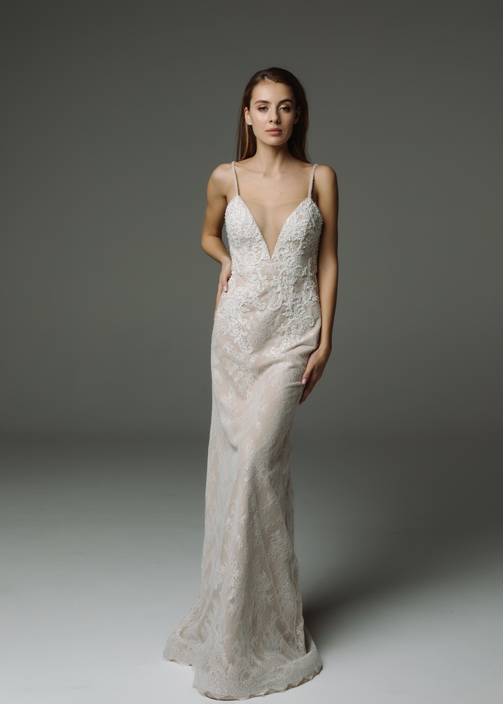 Chloe gown, 2019, couture, gown, dress, bridal, nude color, lace, embroidery, train, sheath silhouette, discount, sale
