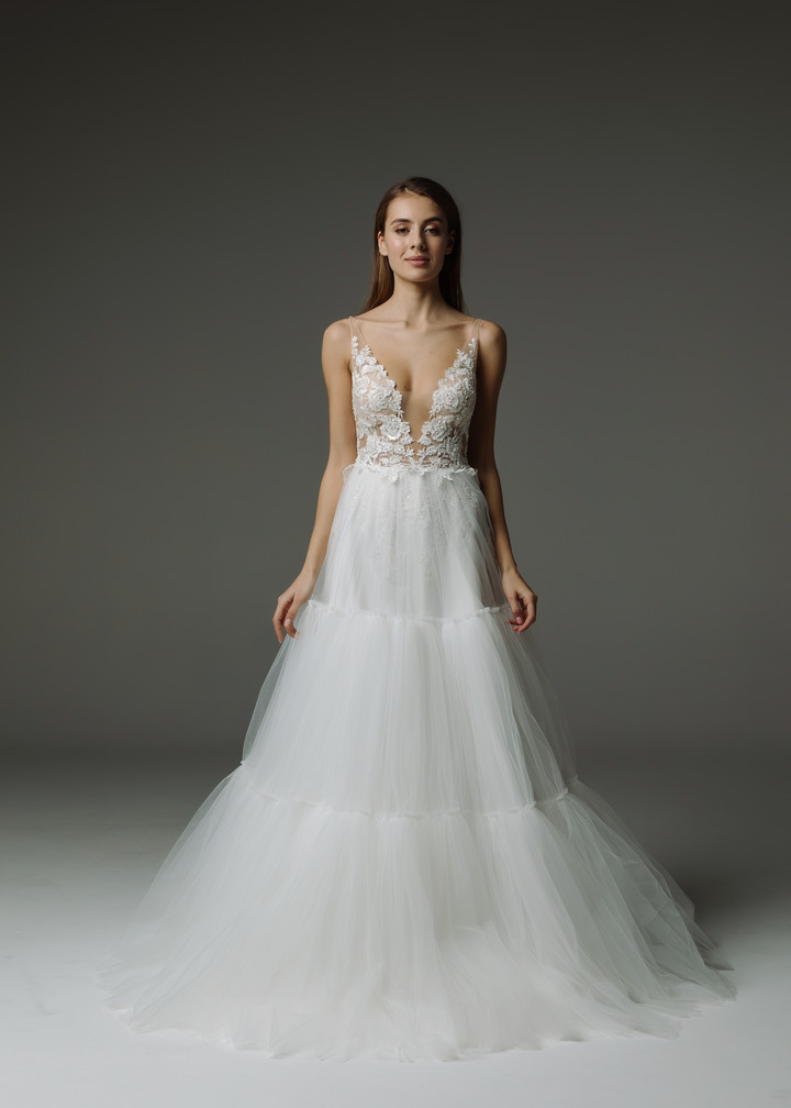 Felicia gown, 2019, couture, gown, dress, bridal, off-white, lace, A-line, tulle, discount, sale