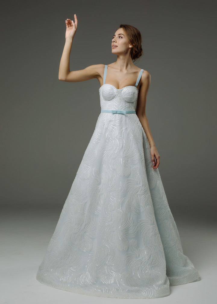 Virginia gown, 2019, couture, gown, dress, bridal, light blue, lace, A-line, lacing corset, discount, sale