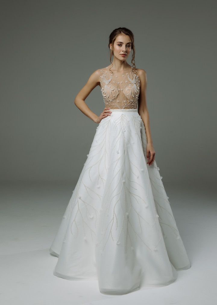 Avon gown, 2019, couture, gown, dress, bridal, off-white, satin, embroidery, A-line, discount, sale