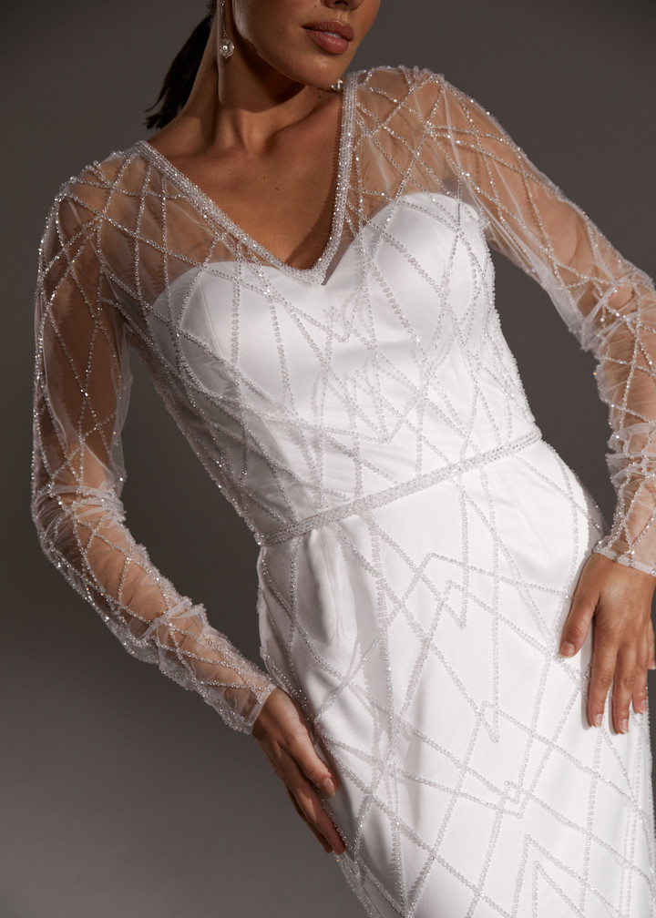 Celeste gown, 2019, couture, dress, bridal, off-white, embroidery, sleeves, sheath silhouette, popular