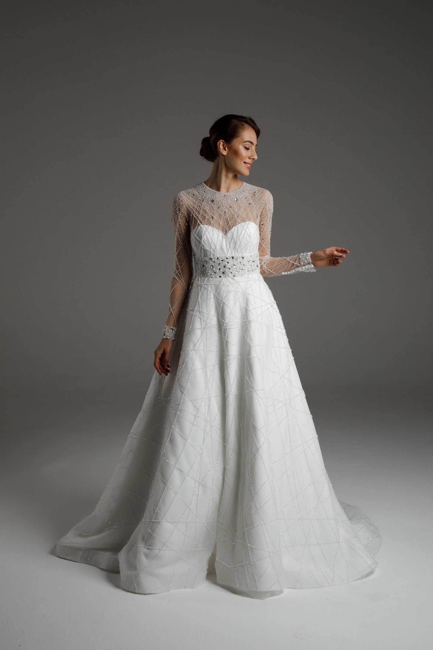 Gabriel gown, 2020, couture, dress, bridal, off-white, satin, embroidery, sleeves, train, A-line, popular
