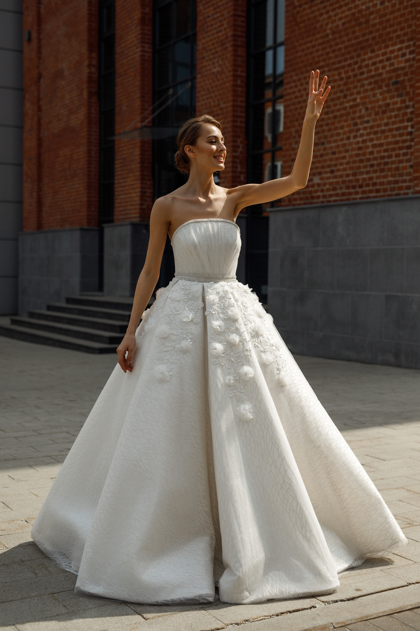 Clare gown, 2020, couture, gown, dress, bridal, off-white, embroidery, lacing corset, A-line, discount, sale