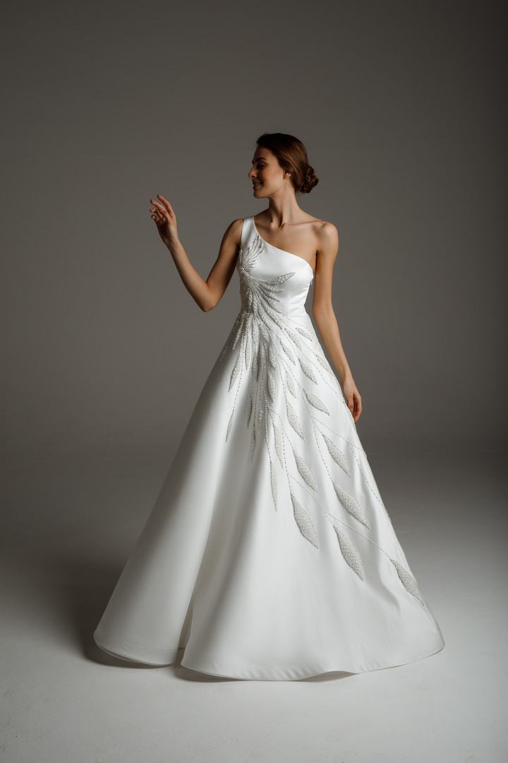 Blanche gown, 2020, couture, gown, dress, bridal, off-white, satin, embroidery, A-line, popular
