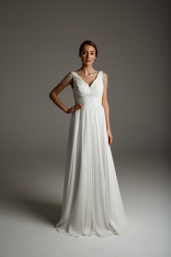 Olivia gown, 2020, couture, gown, dress, bridal, off-white, chiffon, embroidery, A-line