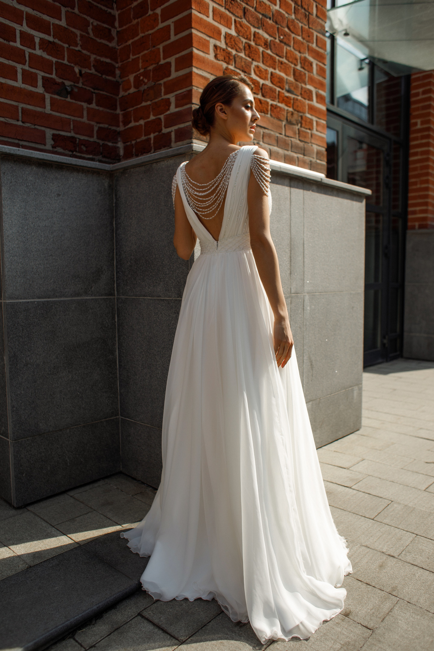 Olivia gown, 2020, couture, dress, bridal, off-white, chiffon, embroidery, A-line