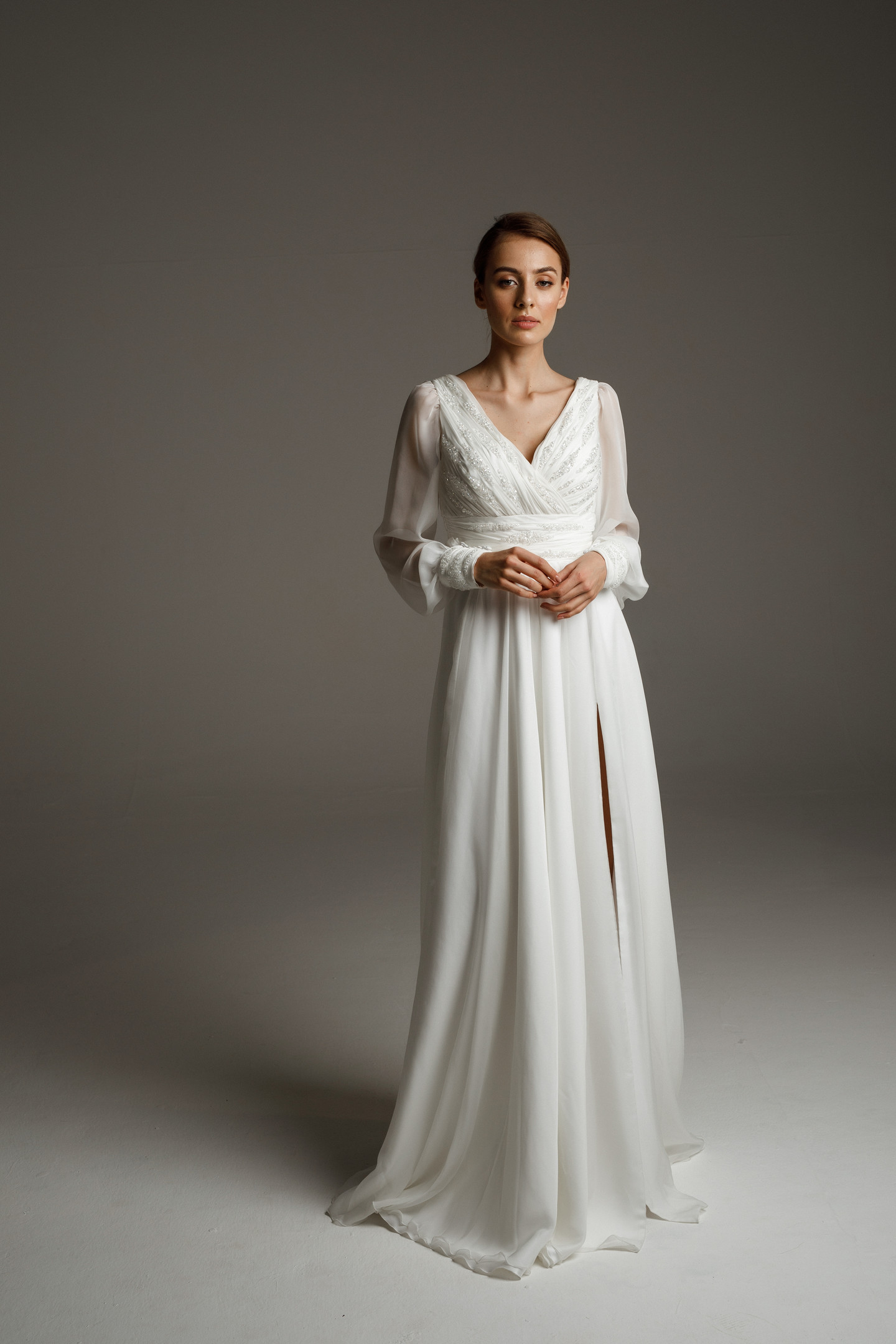 Fabian gown, 2020, couture, gown, dress, bridal, off-white, chiffon, embroidery, sleeves, A-line, popular