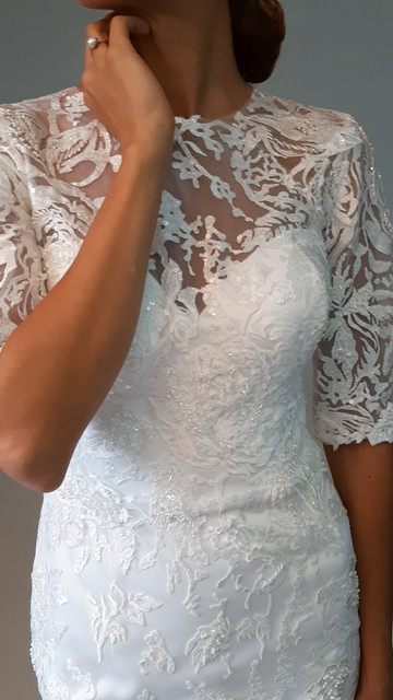 Isabelle gown, 2020, couture, gown, dress, bridal, off-white, lace, detachable skirt, embroidery, sheath silhouette, sleeves, A-line, discount, sale