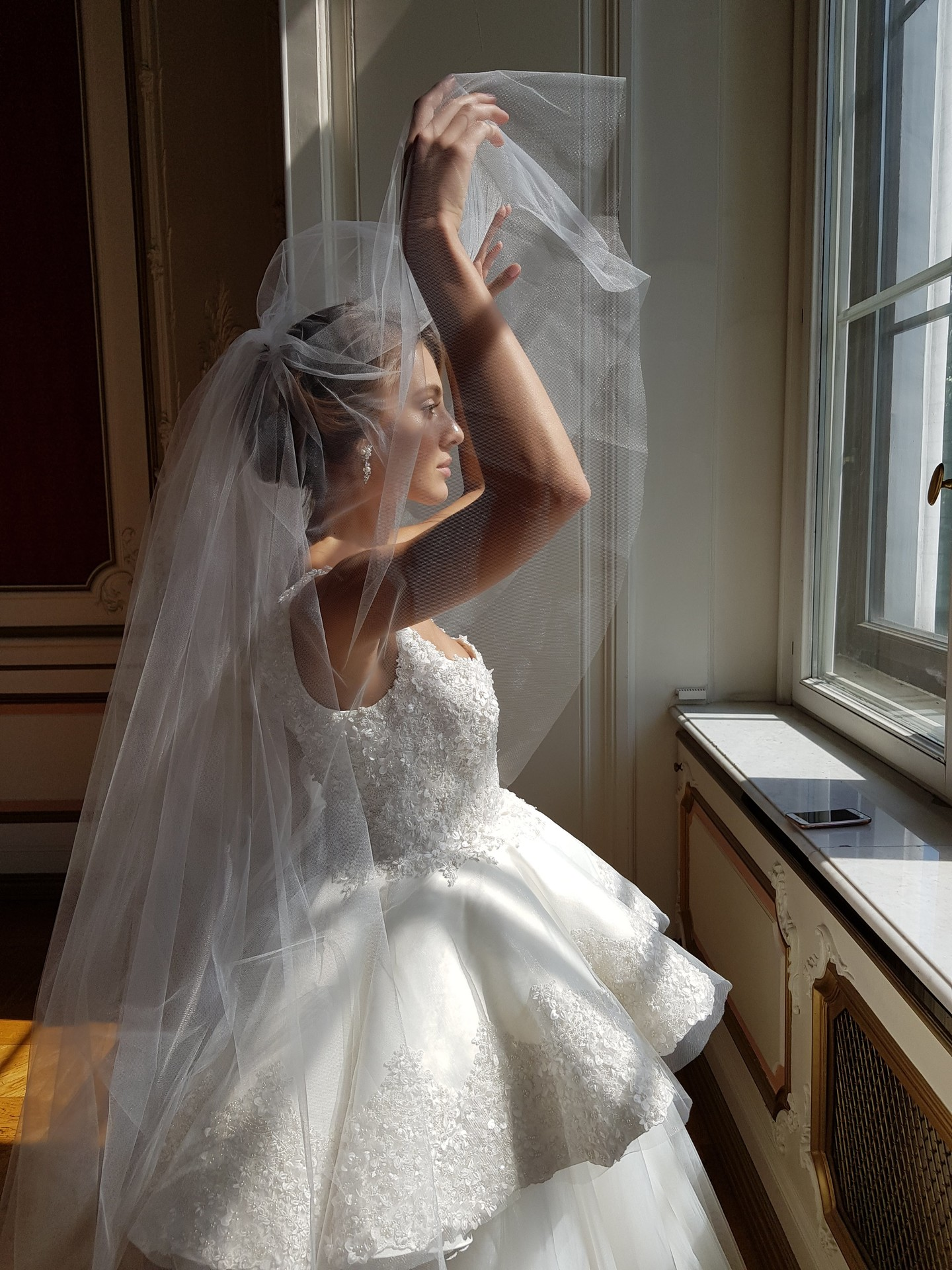Plain veil, accessories, veil, bridal, off-white, tulle, Lydia