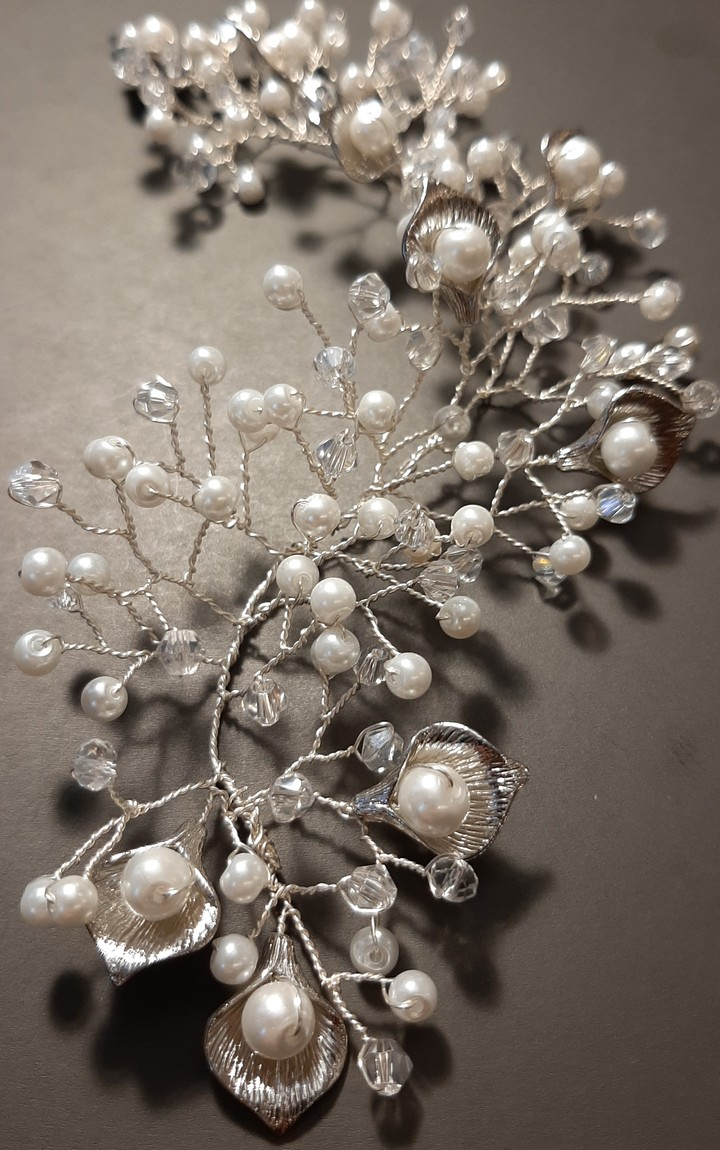 Hair twig of pearls, accessories, hairstyle, bridal, silver color, Emilia, twig, evening