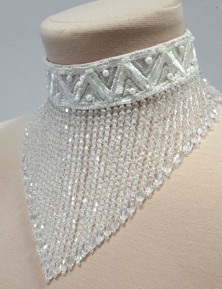 Choker necklace, accessories, necklace, bridal, off-white, lace, choker, evening