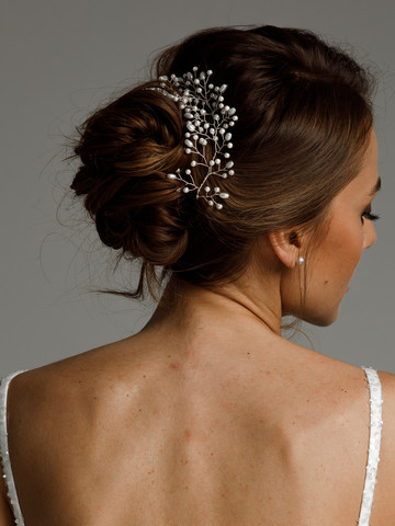 2 hair twigs of pearls, accessories, hairstyle, bridal, silver color, Andrea, twig, evening