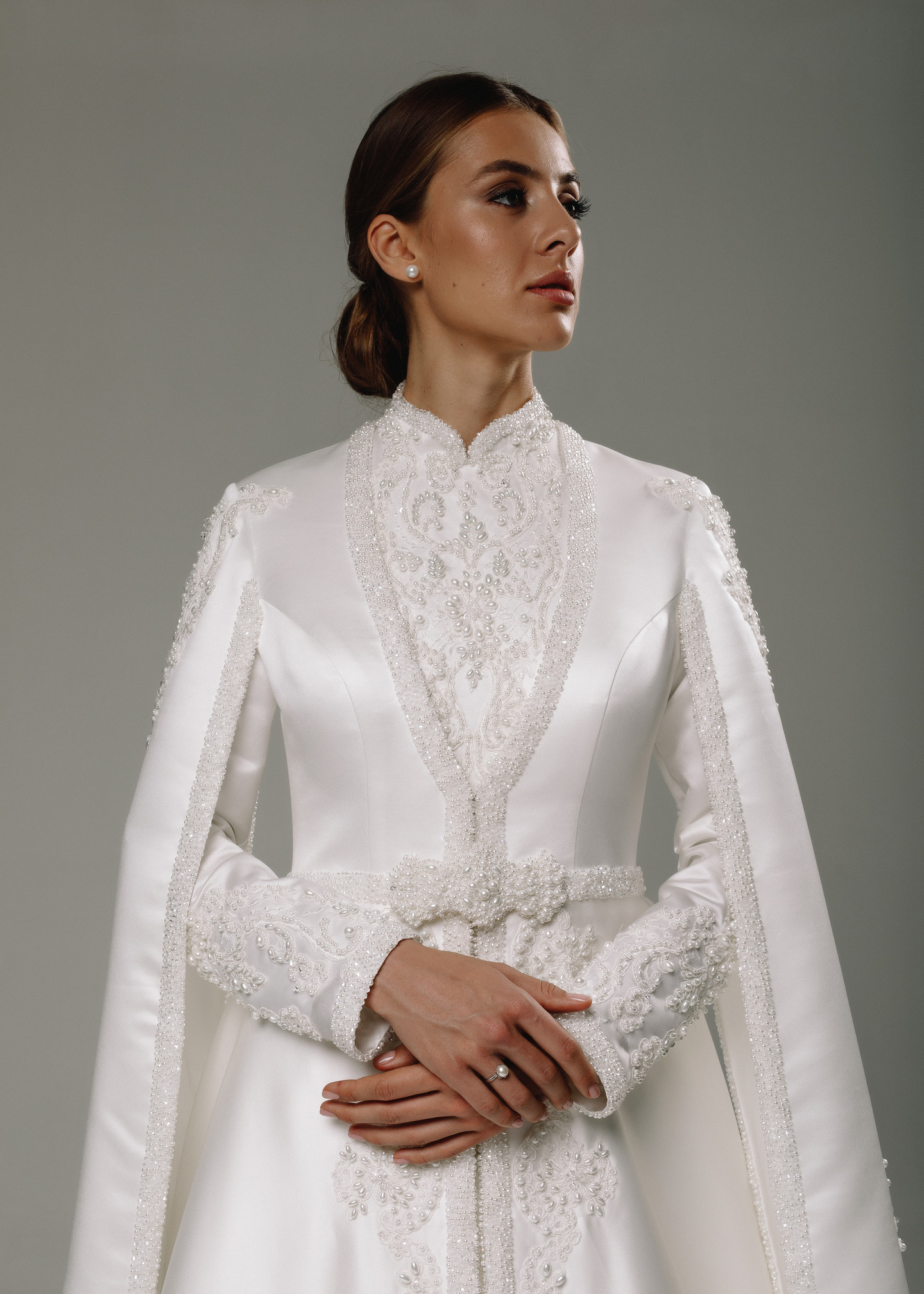 Roxana gown, 2020, couture, dress, bridal, off-white, lace, Roxana, embroidery, A-line, sleeves, train, satin