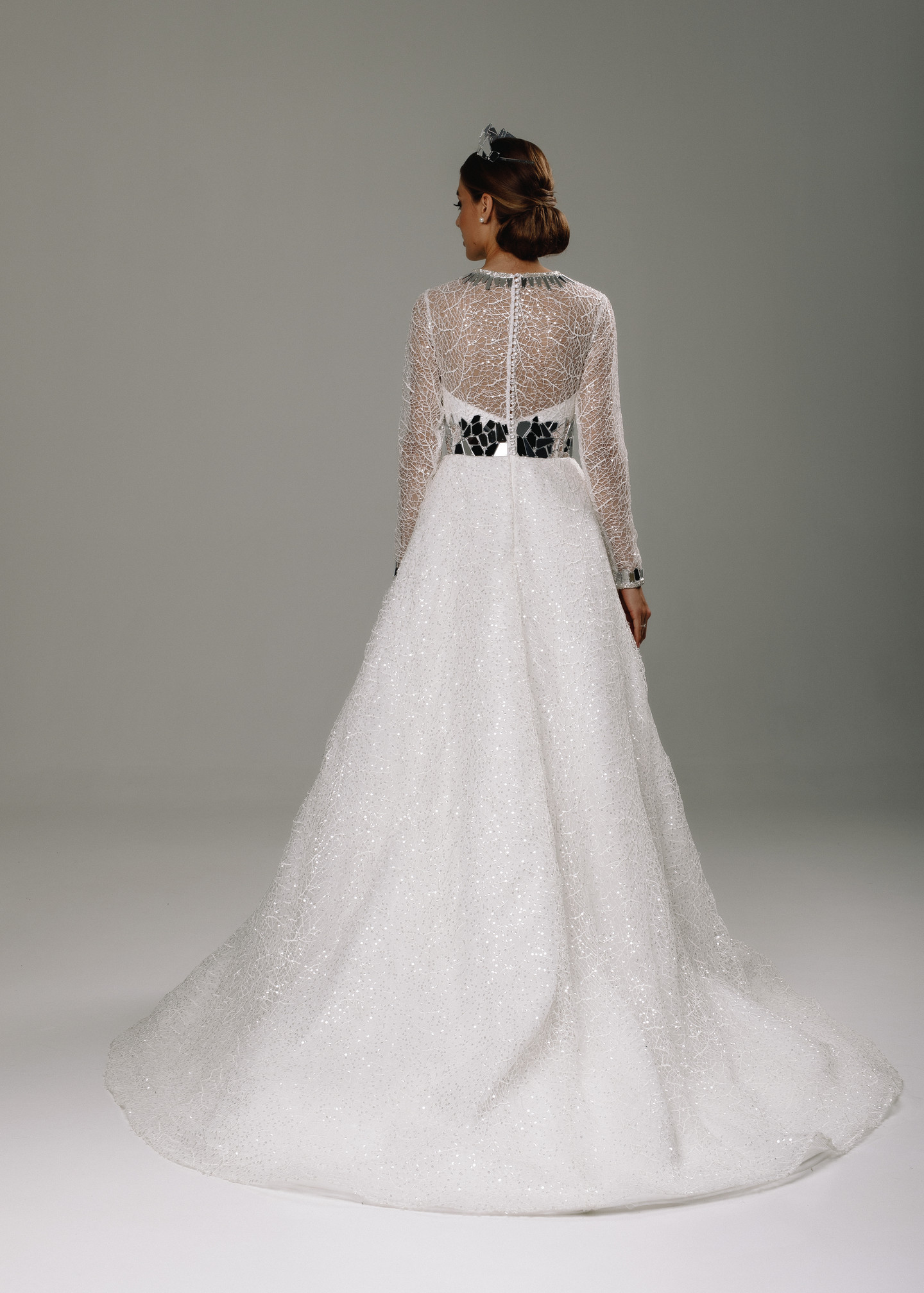 Gerda gown, 2020, couture, dress, bridal, off-white, lace, Gerda, embroidery, A-line, sleeves, train, satin