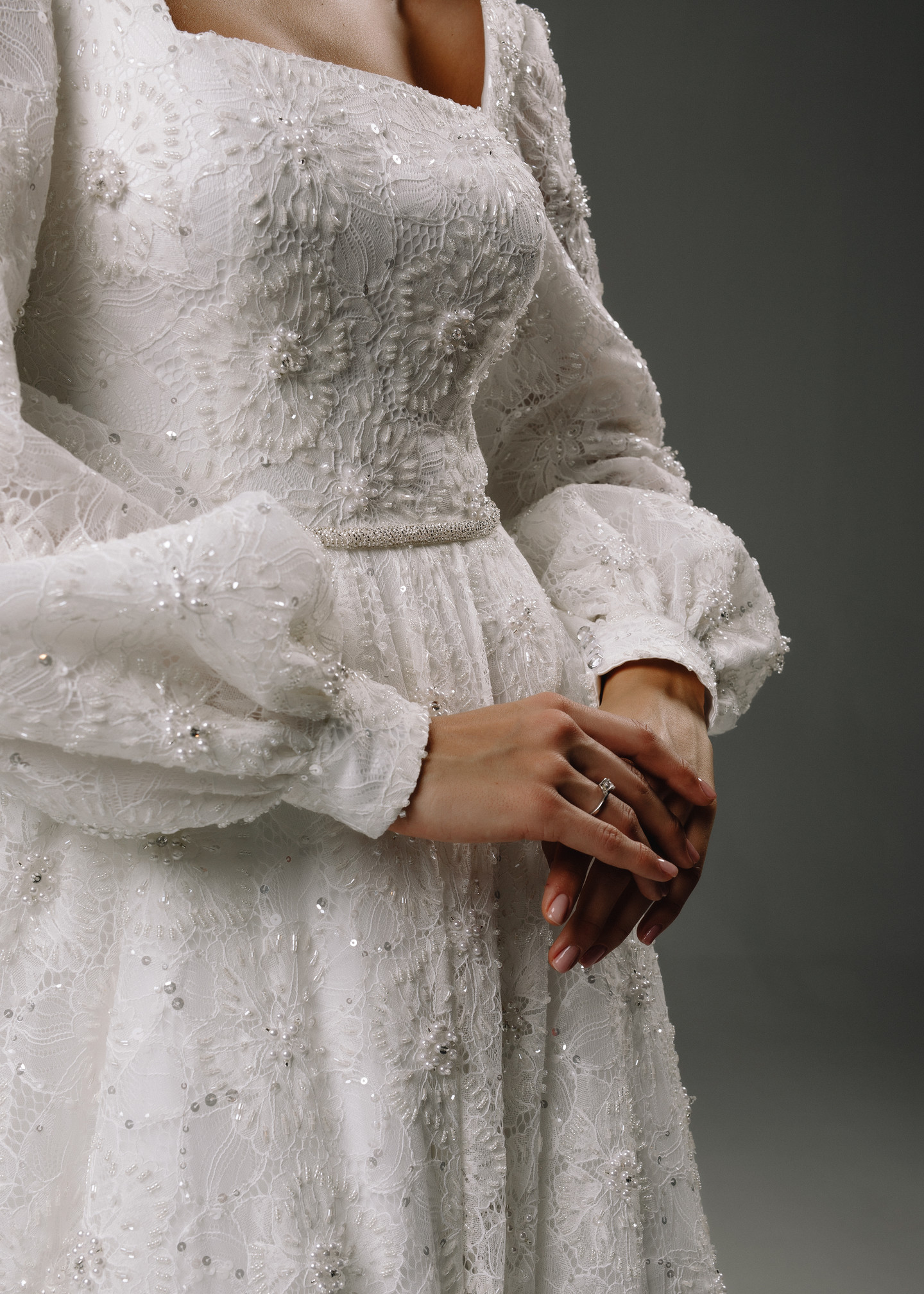 Bianca gown, 2020, couture, gown, dress, bridal, off-white, lace, A-line, embroidery, sleeves, train