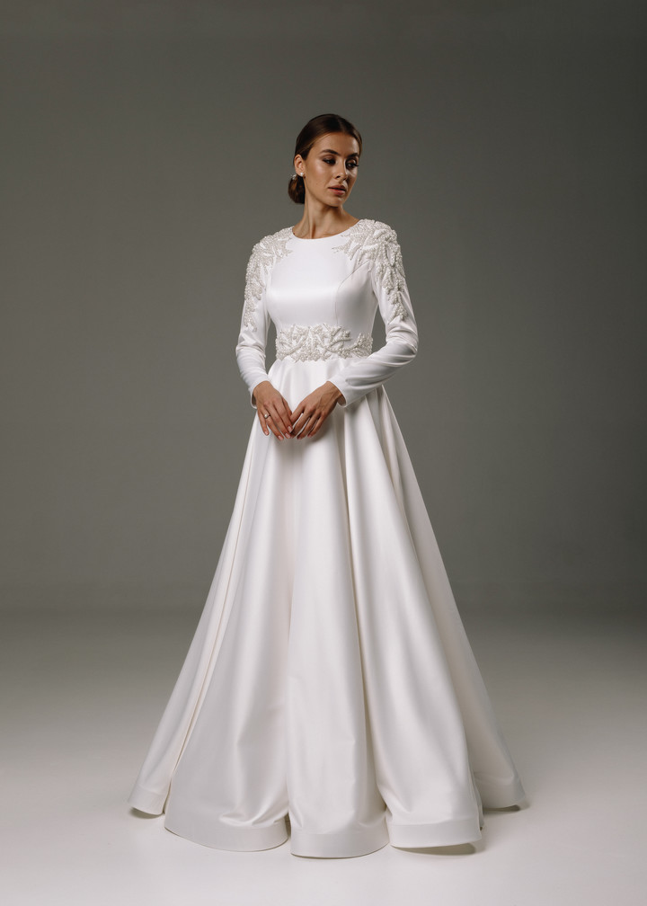 Sara gown, 2020, couture, gown, dress, bridal, off-white, embroidery, sleeves, A-line