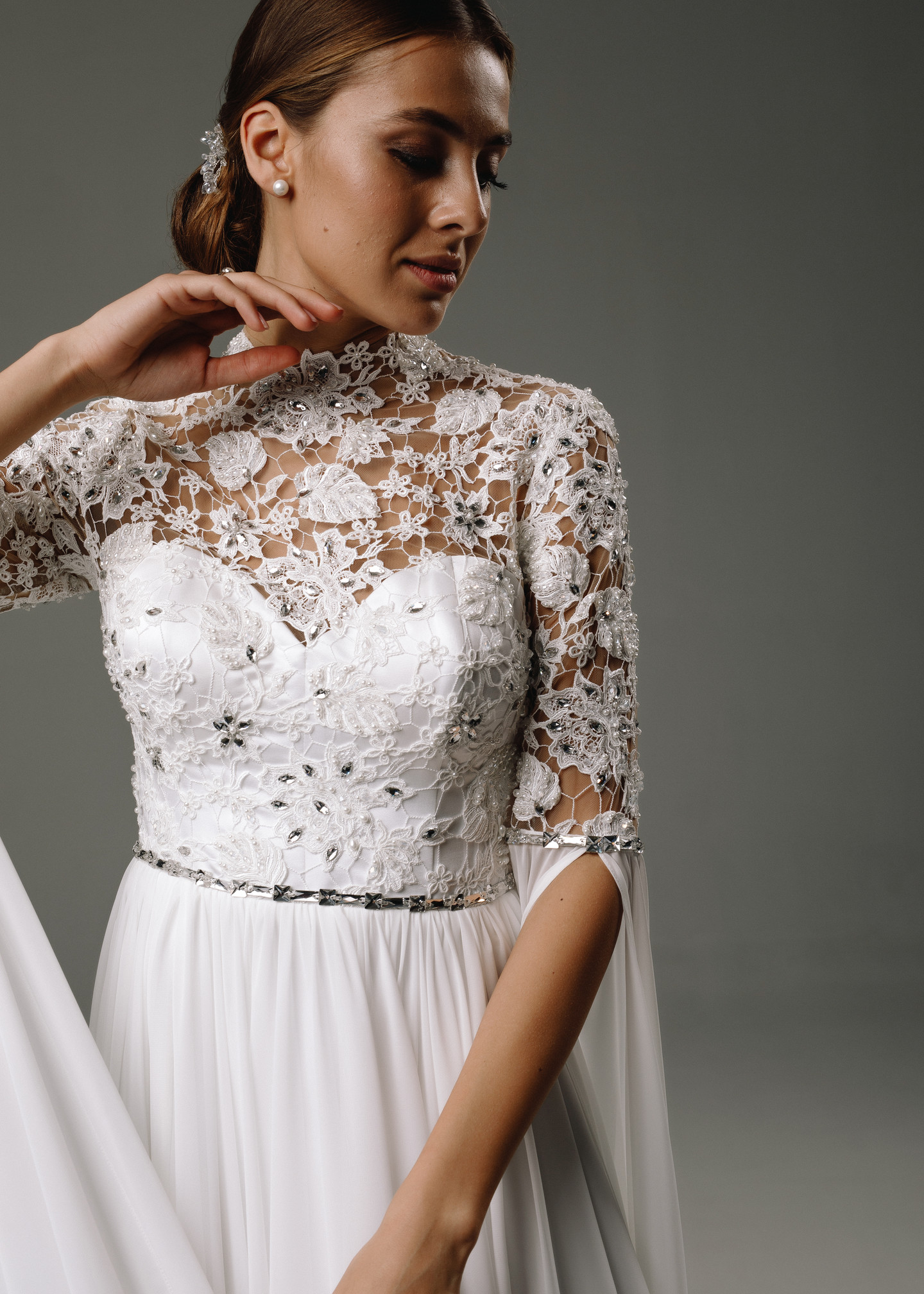 Augustine gown, 2020, couture, gown, dress, bridal, off-white, lace, embroidery, sleeves, A-line, discount, sale