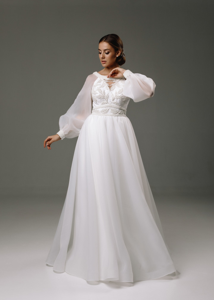 Dolores gown, 2020, couture, gown, dress, bridal, off-white, embroidery, sleeves, A-line