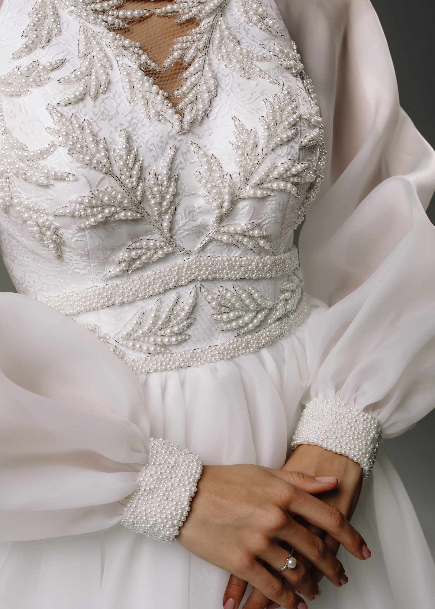 Dolores gown, 2020, couture, dress, bridal, off-white, embroidery, sleeves, A-line