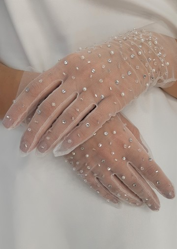 Gloves with crystals, accessories, gloves, bridal, off-white, embroidery