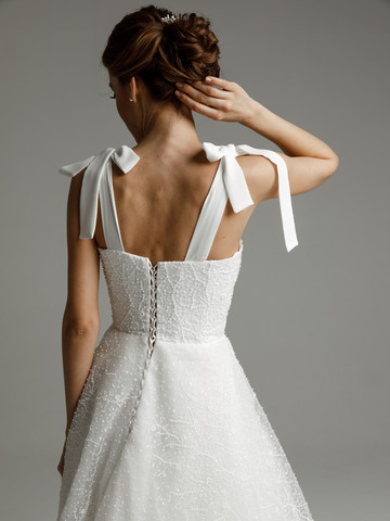 Sabina gown, 2021, couture, gown, dress, bridal, off-white, lace, lacing corset, A-line