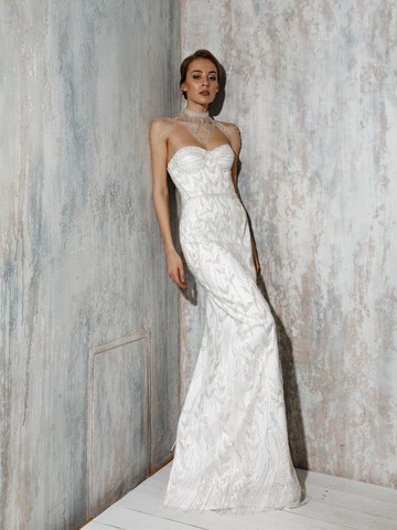 Andrea gown, 2021, couture, dress, bridal, off-white, lace, Andrea, sheath silhouette, lacing corset, popular