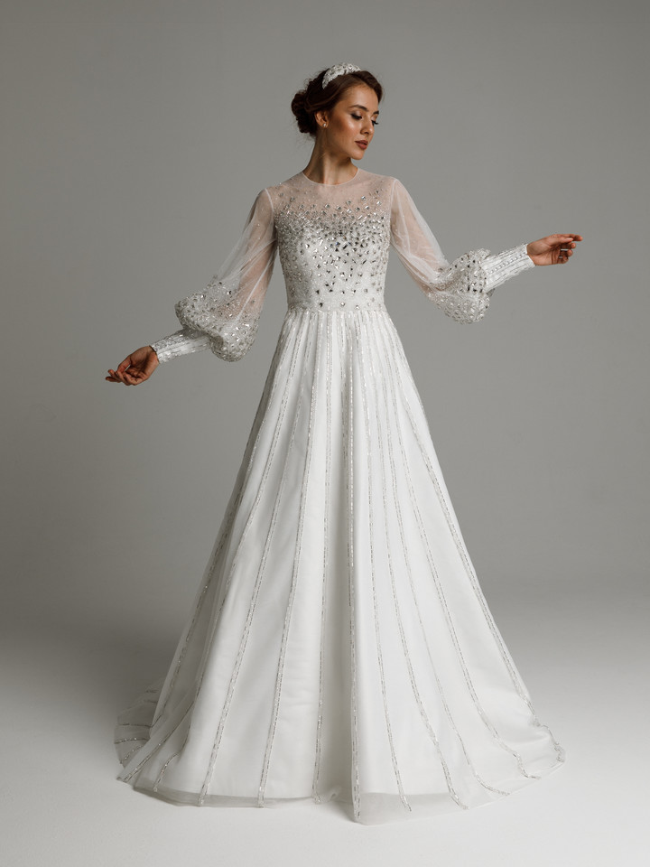 Eliza gown, 2021, couture, dress, bridal, off-white, Eliza, A-line, embroidery, train, sleeves