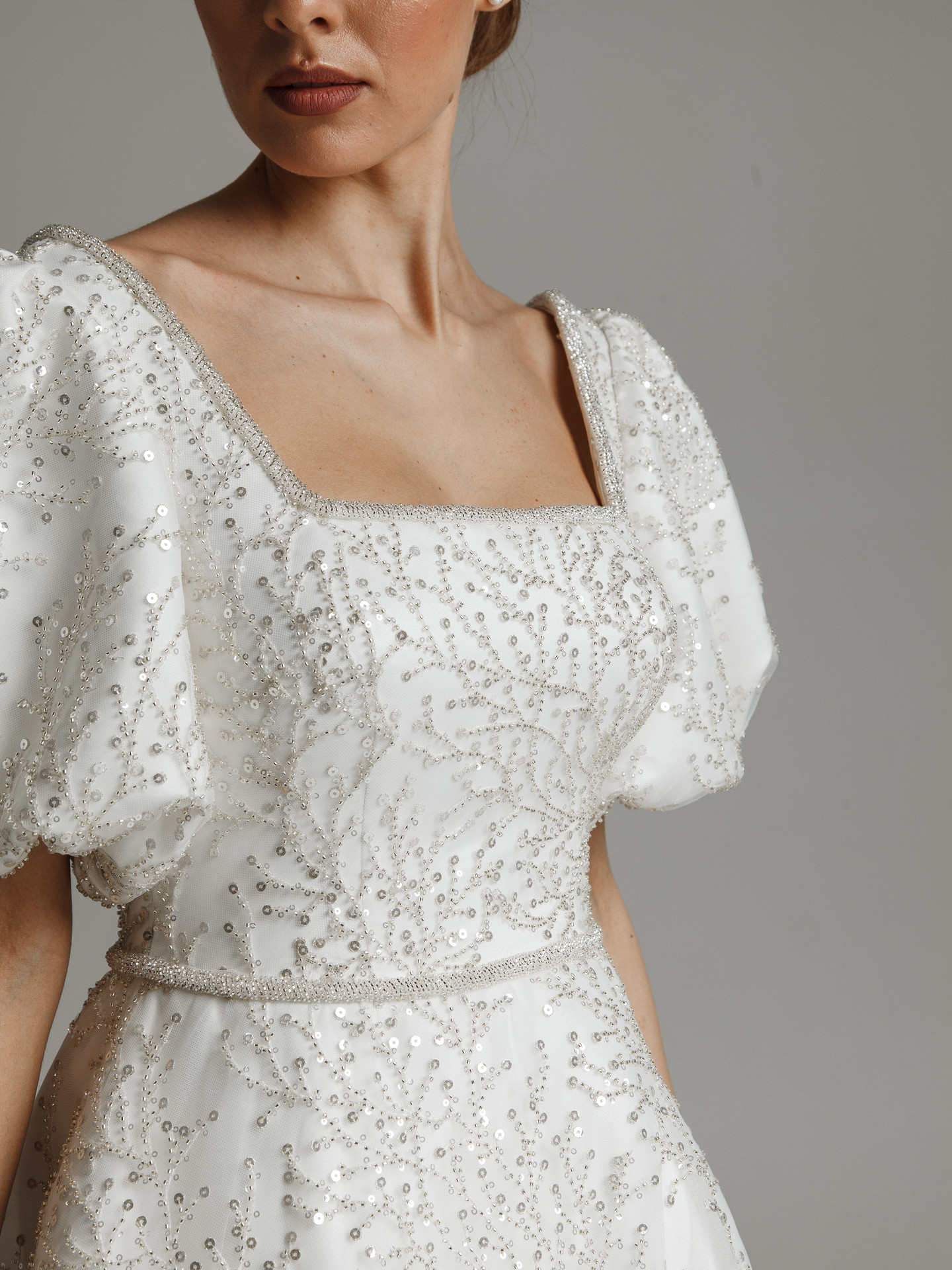 Martha gown, 2021, couture, gown, dress, bridal, off-white, lace, A-line, train, sleeves