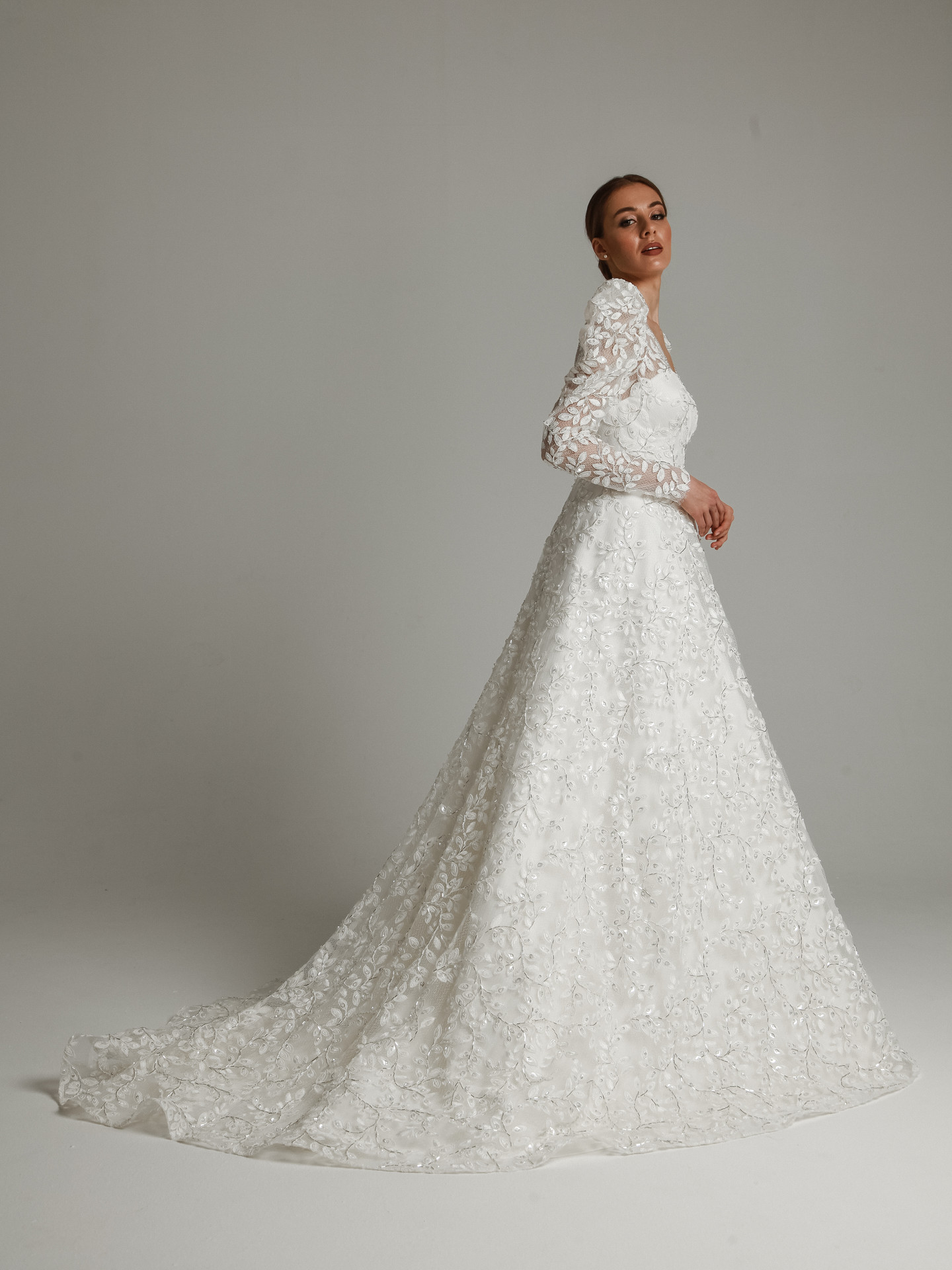 Monclair gown, 2021, couture, gown, dress, bridal, off-white, lace, A-line, embroidery, train, sleeves