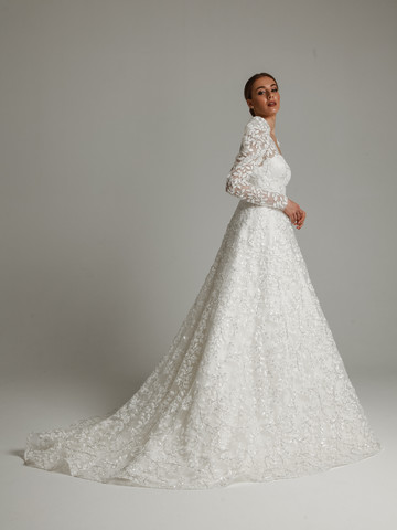 Monclair gown, 2021, couture, dress, bridal, off-white, lace, A-line, embroidery, train, sleeves