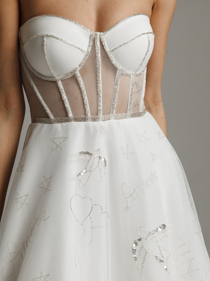 Amoret gown, 2021, couture, gown, dress, bridal, off-white, A-line, embroidery, lacing corset