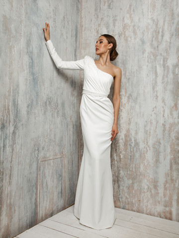 Paulette gown, 2021, couture, dress, bridal, off-white, Paulette, sheath silhouette, embroidery, sleeves