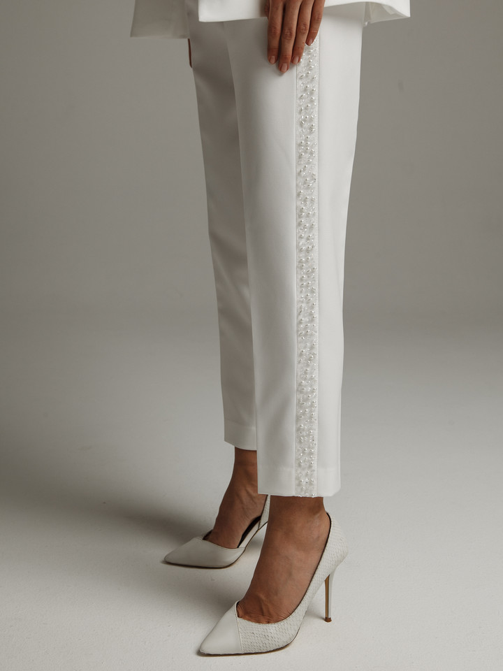 Beaded trousers, 2021, couture, trousers, bridal, off-white, beaded bridal suit, embroidery, popular