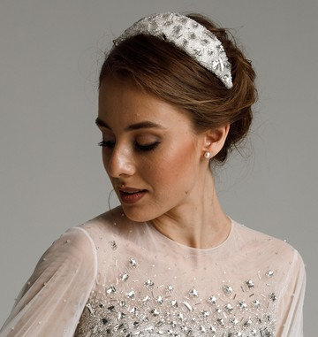 Eliza headband, 2021, accessories, hairstyle, bridal, off-white, Eliza, embroidery, headband