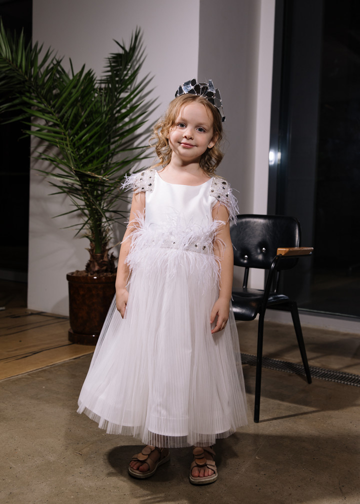 Didi flower girl dress, couture, child dress, child, off-white, tulle, embroidery, satin, flower girl