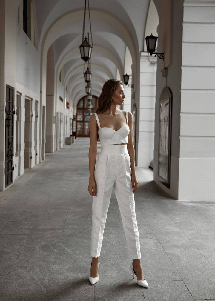 Jacquard trousers, 2021, couture, trousers, bridal, off-white, jacquard, jacquard suit