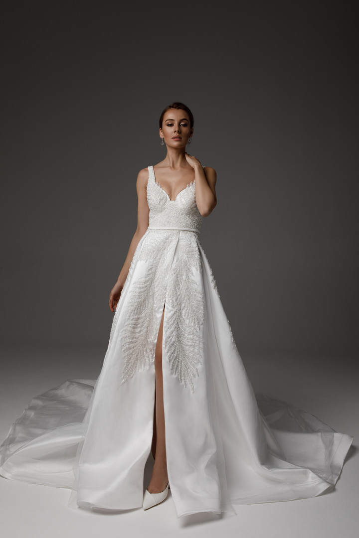 Ingrid gown, 2021, couture, gown, dress, bridal, off-white, satin, embroidery, A-line, train