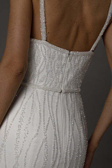 Letitia gown, 2021, couture, gown, dress, bridal, off-white, embroidery, sheath silhouette, train