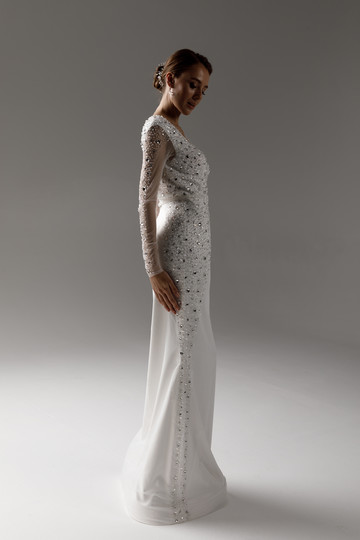 Raquel gown, 2021, couture, gown, dress, bridal, off-white, embroidery, sheath silhouette, sleeves