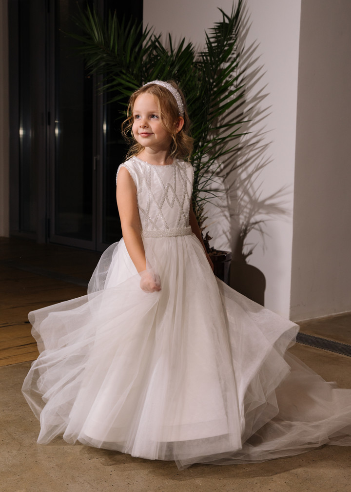 Lily flower girl dress, 2021, couture, child dress, child, off-white, tulle, embroidery, satin, flower girl