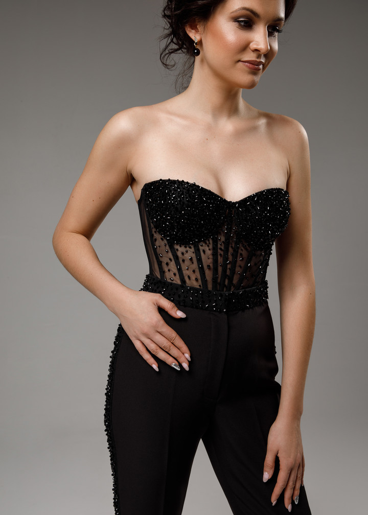 Beaded corset, 2021, couture, top, evening, black, beaded black suit, corset, popular