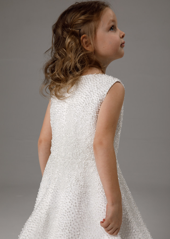 Flower girl dress fully beaded, 2021, couture, child dress, child, off-white, satin, embroidery, flower girl