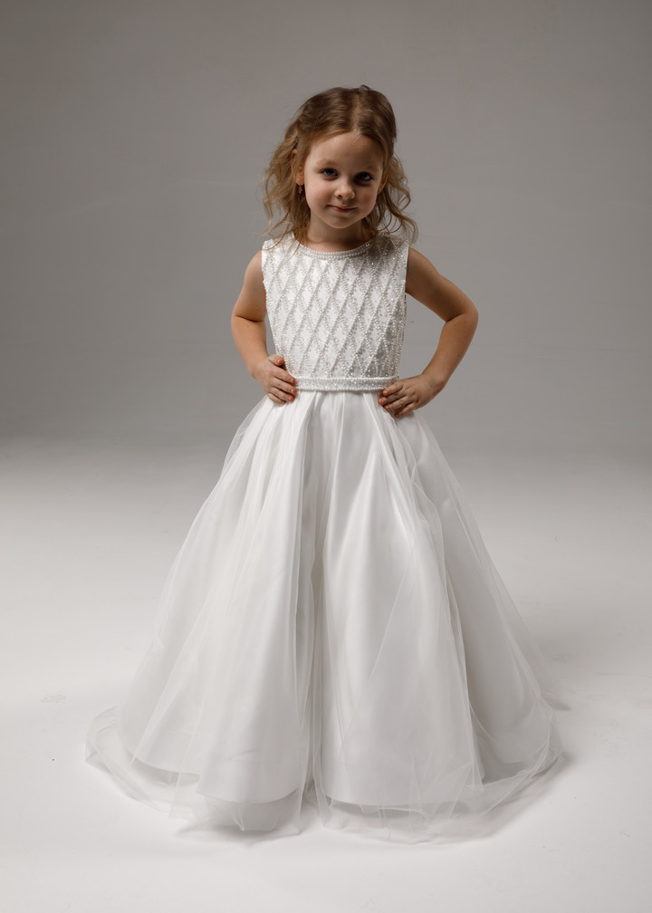 Beaded flower girl dress, 2021, couture, child dress, child, off-white, satin, embroidery, flower girl