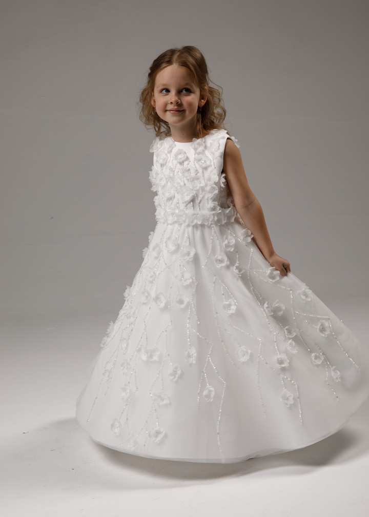 Flower girl dress, 2021, couture, child dress, child, off-white, satin, embroidery, flower girl