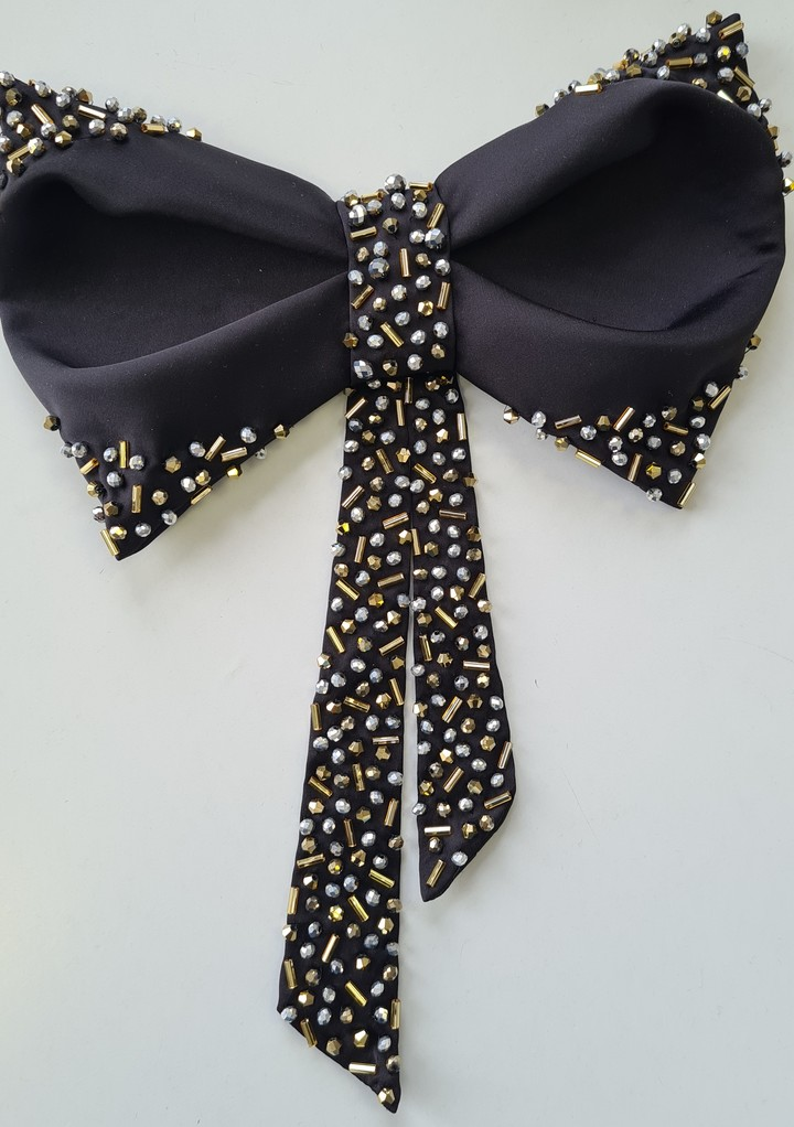 Beaded bow, accessories, hairstyle, evening, black, embroidery
